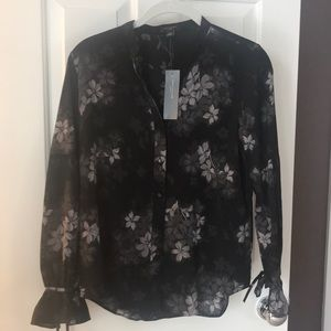 Ann Taylor Black And Grey Floral Blouse